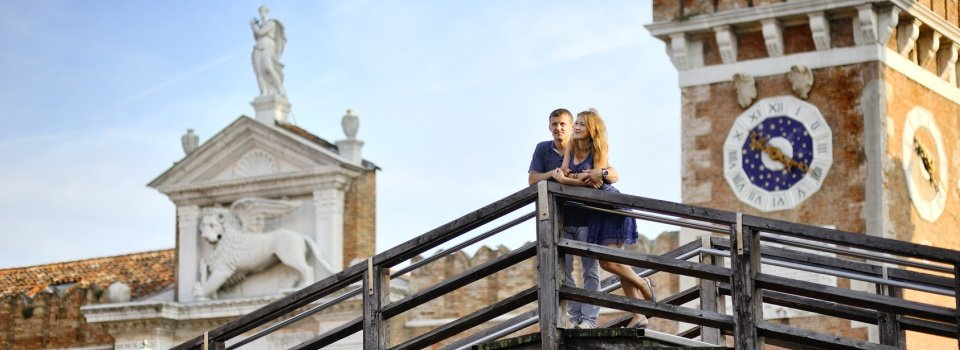 happy couple in honeymoon in Venice, Italy